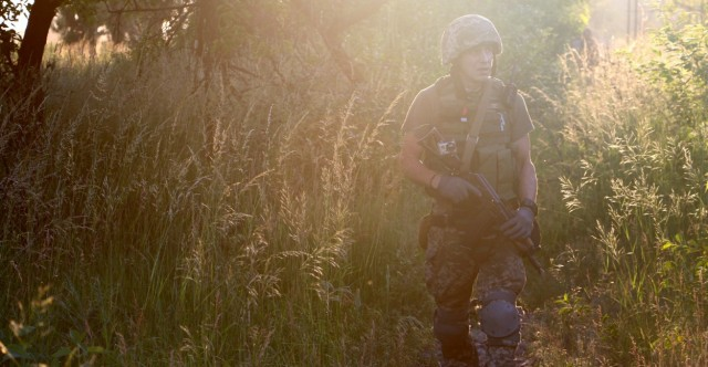 Konstantin Bernatovich, 33, on patrol at the frontline in Pisky, Ukraine. Photo by Nolan Peterson, The Daily Signal. Source