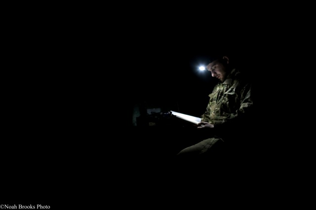 At night on the front, Azov Commander