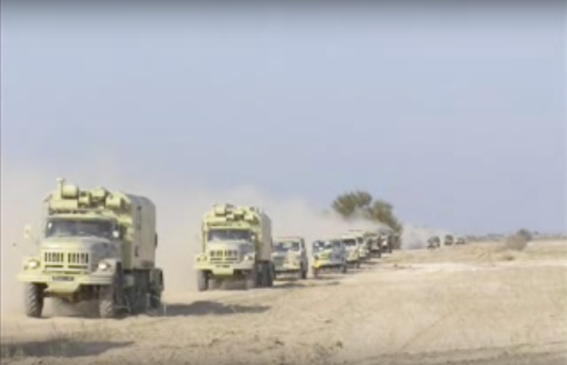 Convoy. Image from Ukrainian Troops in Iraq video.