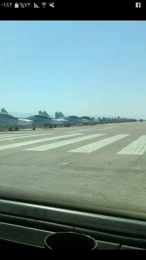 Russian military aircraft in Syria at al-Assad International Airport. Source.
