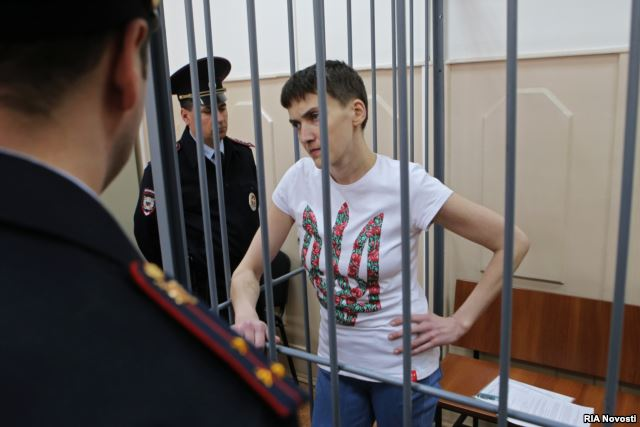 Nadiya Savchenko during a court hearing in Moscow in May 2015