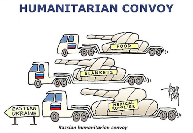 "The 38th Russian ""humanitarian convoy"" with 44 vehicles arrived in Donbas on Sept. 17th. Source."