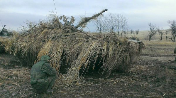 Camouflaged militant tank in Donbas. Source