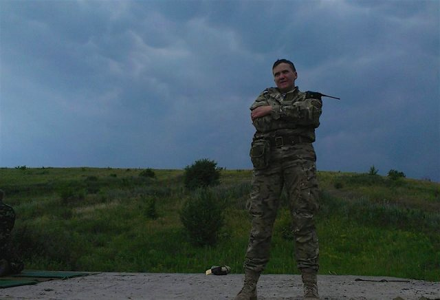 "Ukrainian pilot and MP Nadiya Savchenko, in the ATO in 2014 before her capture by Russian-backed ""separatists"" near Metalist, Ukraine on June 17th of that year. January 26th, 2016 marks her 40th day of her second hunger strike protest in Russian detention while her court trial continues."