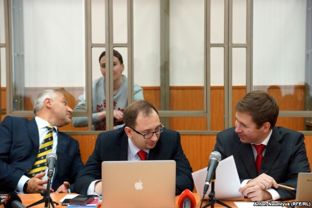 Savchenko and her lawyers in court in Donetsk, Russia.