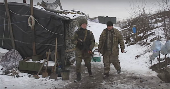 "At AFU ""Zenith"" position in Pisky, Ukraine. Photo: screenshot from Military Reporters TV video footage."