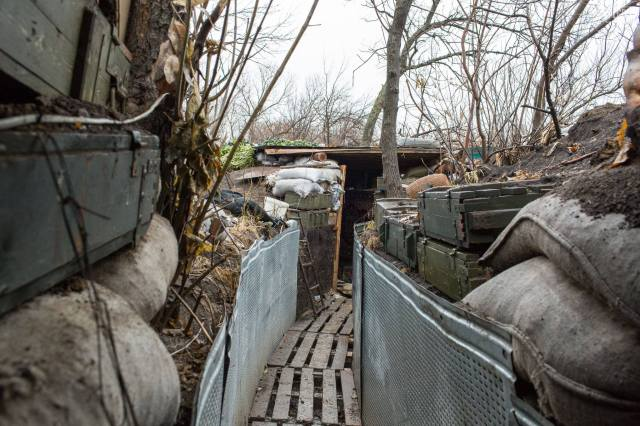 An example of the trench systems Ukrainian soldiers dug, constructed, and live in. Photo Credit: Bryce Wilson