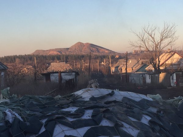 "View of the ""Crocodile"" (slag heap) position in an area of Donetsk. Photo by Bryce Wilson https://twitter.com/Drjft/status/696785408215142404"