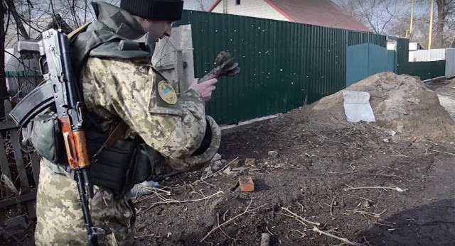 Zaitseve, Ukraine. The consequences of night attacks by Russian militants Feb. 2, 2016. Source: Screenshots from Ukraine Military TV video