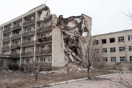 Mariinka apartment building destroyed by militants using Russian-supplied tank from 400 metres away. Photo Bryce Wilson. http://www.abc.net.au/news/2016-03-14/on-the-frontline-of-ukraine's-bloody-stalemate/7245036