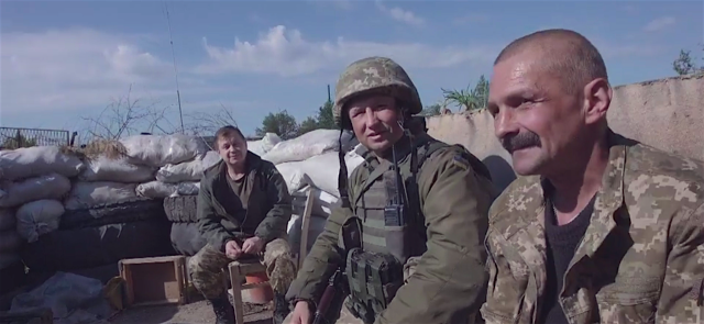 Ukrainian soldiers on the front lines in the industrial zone on the outskirts of Avdiivka, May 27, 2016. Photo: BBC video screenshot