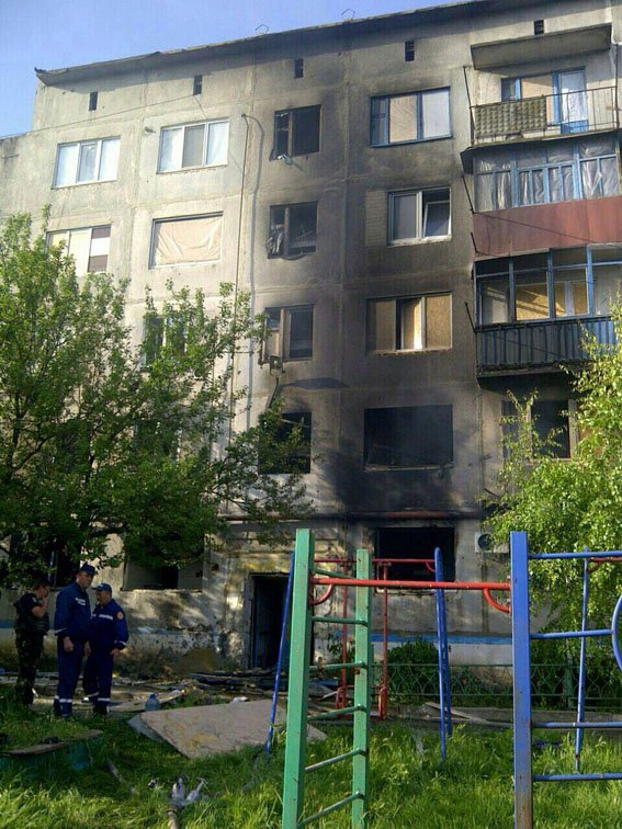 Russian occupiers shelled a residential building in Krasnohorivka, June 16, 2016. This photo and the 2 below: source