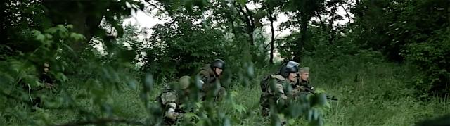 "Russian proxy ""Fifteenth"" International Brigade unit in battle for Mar'inka on July 3rd, 2016. Photo: social media video screenshot"