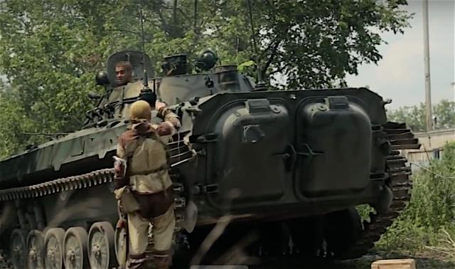 "Russian proxy ""Fifteenth"" International Brigade unit in battle for Mar'inka on June 3rd, 2016. Photo: social media video screenshot"