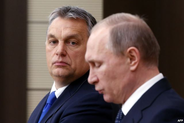 Hungarian Prime Minister Viktor Orban in the shadow of Vladimir Putin. Moscow, Winter 2016