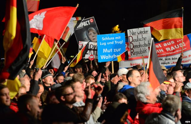 "The ""Alternative for Germany"" holds a rally against German immigration policy. Autumn 2015"