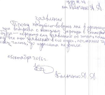 Sasha Kolchenko's letter to the Consul.