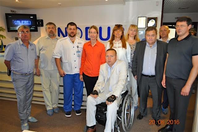 Dr. Ulyana Suprun, the Acting Minister of Health in Ukraine (pictured in red shirt), and other Ukrainian government officials visit NODUS to learn about their practices. They acknowledged the NODUS team, their quality services and high recovery success rates.