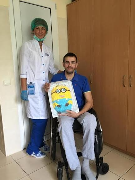 NODUS' ATO Ward 1: Artur Kireev. Smiling and positive emotions are part of the treatment. Artur is a huge fan of the Minions. One day, Yuliya found and bought a cake for ATO Ward 1 which made Artur smile.